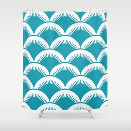 Japanese Fan Pattern Turquoise Shower Curtain