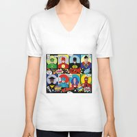 superheroes V-neck T-shirts featuring Superheroes by Chicca Besso