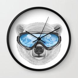 Portrait of Polar Bear with ski goggles. Wall Clock