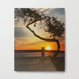 Sunset on Santa Monica beach, California, USA Metal Print