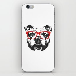 Portrait of English Bulldog with glasses. iPhone Skin