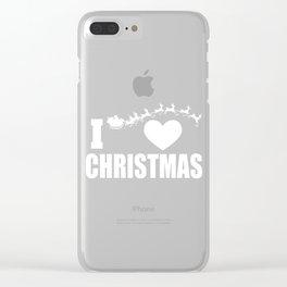 I Love Christmas Santa Sleigh Reindeer Clear iPhone Case