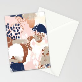 Sonia - rose gold navy copper modern abstract rosegold trendy pattern cell phone accessories Stationery Cards