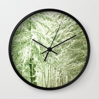 narnia Wall Clocks featuring Winter Pine Trees by Olivia Joy StClaire