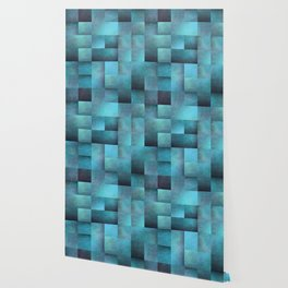 Tiled Pattern Shades Of Blue Wallpaper