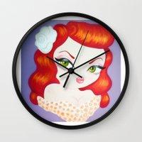 rockabilly Wall Clocks featuring Rockabilly Redhead by Little Bunny Sunshine