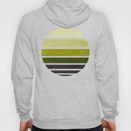 Olive Green Mid Century Modern Minimalist Circle Round Photo Staggered Sunset Geometric Stripe Desig Hoody