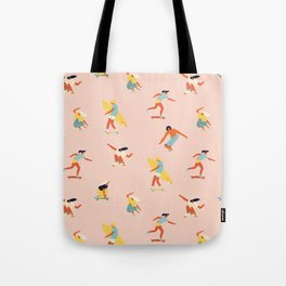 Skateboarding in California of 70s Tote Bag