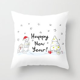 Happy New Year 2019! Oink! Oink! Throw Pillow