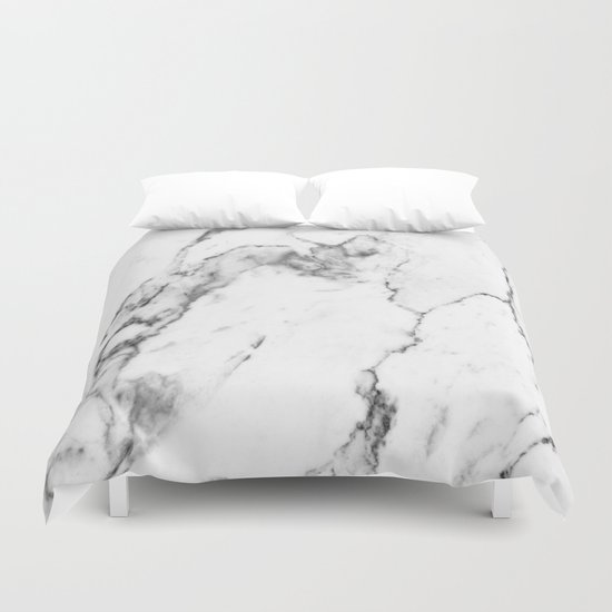 White marble i duvet cover by the aestate society6 for Black and white marble bedding