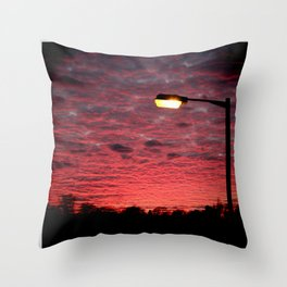 British Winter Sunset Throw Pillow