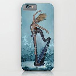 Music, wonderful fantasy harp with women  iPhone Case