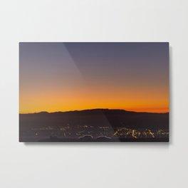 Te Mata Peak Sunset car silhouettes Metal Print