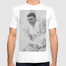 Float Like A Butterfly MEDIUM White Mens Fitted Tee