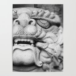 Foo Dog - black and white Poster