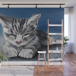 Grumpy cupid, adorable kitty, oil painting by Luna Smith, LuArt Gallery Wall Mural