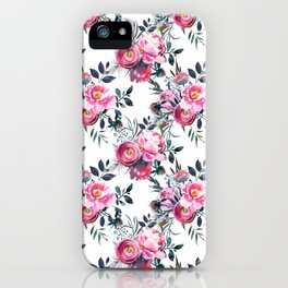 Modern pink gray hand painted watercolor floral pattern iPhone Case