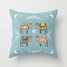 Camel Beauty Contest Mandala Throw Pillow