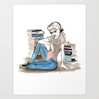 bookworm Art Prints featuring Bookworm by Steak and Unicorns