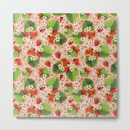 Pink Paisley Strawberries Metal Print