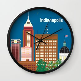 Indianapolis, Indiana - Skyline Illustration by Loose Petals Wall Clock