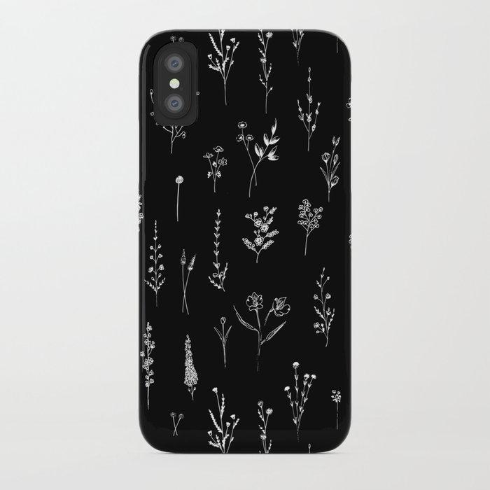 Black wildflowers iPhone Case