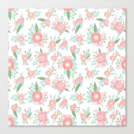 Florals floral pattern minimal basic trendy bouquet spring summer nursery decor Canvas Print