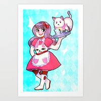 puppycat Art Prints featuring bee & puppycat by SERAPHIC ROYALTY
