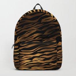 Gold and black metal tiger skin Backpack