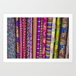 Sari Textiles from Dubai Market Art Print