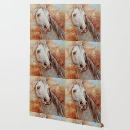 Grey Horse Portrait Autumn Scenic Painting Equine Art Decor for horse lover Wallpaper