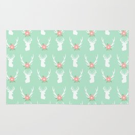 Deer antlers deer head silhouette cute modern minimal nature inspired nursery decor Rug