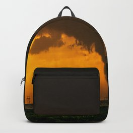 Silhouette - Large Tornado at Sunset in Kansas Backpack