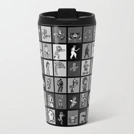 Pixel Heroes Black & White Travel Mug