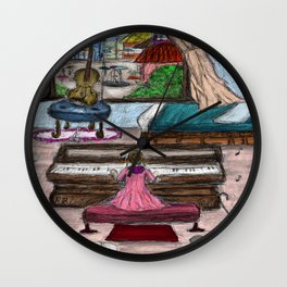 Little Girl Playing Piano on a Rainy Day Wall Clock