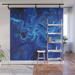 Galaxy Nebula Watercolor Night Sky Stars Outer Space Blue Texture Wall Mural