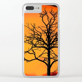 Sunset With Winter Tree (Landscape) Clear iPhone Case