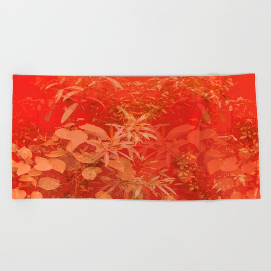 Beautiful red foliages - illustration of garden Beach Towel