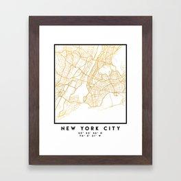 NEW YORK CITY NEW YORK CITY STREET MAP ART Framed Art Print
