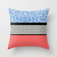 preppy Throw Pillows featuring Confused Preppy Prints by Raizhay Lough