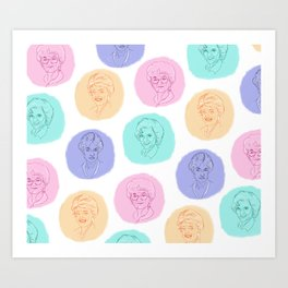 golden girls best friends pastel pattern Art Print