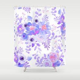 Lilac lavender violet pink watercolor elegant floral Shower Curtain