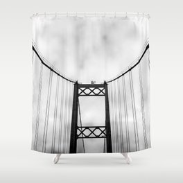 Vintage Monochromatic Black and White Bridge with Clouds Fine Art Print Shower Curtain