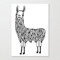 llama Canvas Prints featuring Llama by Lizzie Scott
