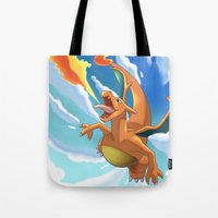 charizard Tote Bags featuring Charizard by Pablo Rey