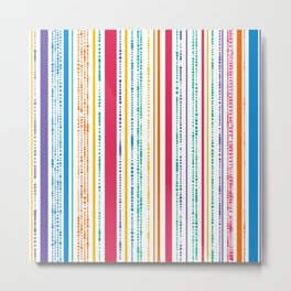 Rainbow Dotted Stripes Metal Print