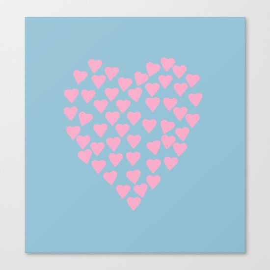 Hearts Heart Pink on Blue Canvas Print