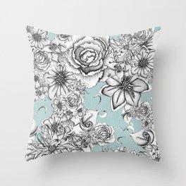 B&W Flowers Blue Throw Pillow