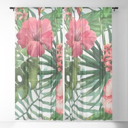 FLOWERS WATERCOLOR 8 Sheer Curtain