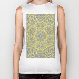Dusty blue and yellow mandala Biker Tank